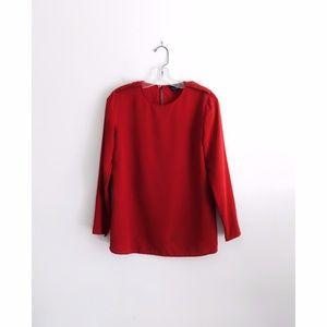 Longchamp Red Silk Long Sleeve Blouse sz FR38 US 6